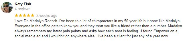 Chiropractic Excelsior MN Patient Testimonial at Empower Chiropractic and Wellness Center